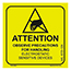 SCS 129LABEL - 2 in x 2 in, Attention Label, MIL-STD-129N ESD Symbol, Yellow, 500 Labels per Roll